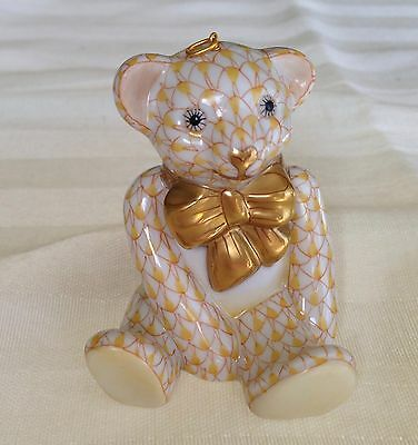 Herend Pottery Hungary Butterscotch Fishnet Teddy Bear Ornament 1st Ed Retired