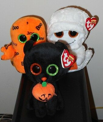 "Ty Beanie Boos 6"" Set - GHOULIE, MIST & SHADOW (Halloween) ~ 2016 NEW ~ IN HAND"