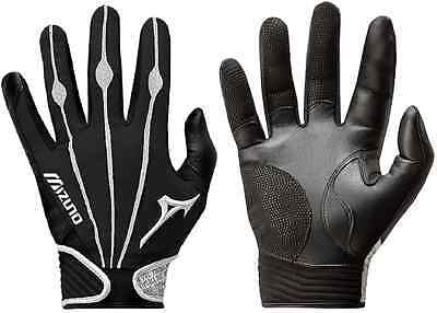 1 Pair Mizuno 330286 Vintage Pro Large Black / White Adult Batting Gloves New!