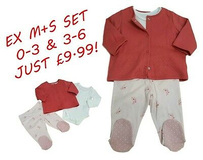 Ex M+S Baby Girls Starter Set Outfit Top Trousers Cardigan Winter Gift 0-3 3-6
