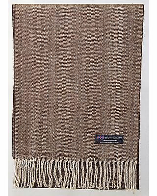 100% Cashmere Scarf Brown Beige Tweed Check Plaid Soft Scotland Wool Men Wrap