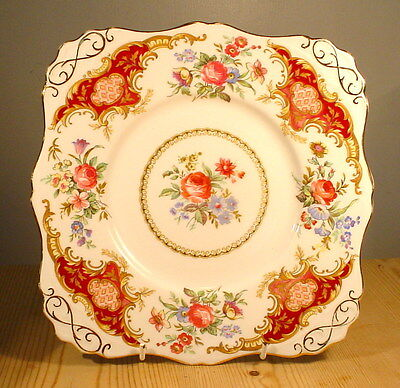 "Tuscan China ""Windsor"" Red Bread & Butter / Cake Plate"