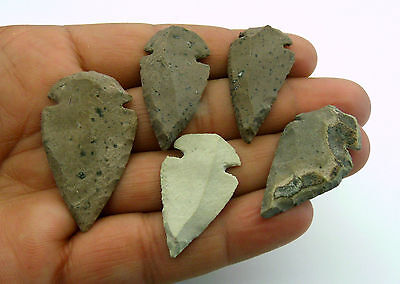 "5 pieces lot CANTERA STONE ARROWHEADS / SPEARPOINTS REPLICAS 1¼"" - 1½"" (SW117)"