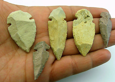 "5 pieces lot CANTERA STONE ARROWHEADS / SPEARPOINTS REPLICAS 1¼"" - 2"" (SW118)"