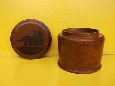 137 / STUNNING 1920,s HAND TURNED ROSE WOOD TOBACCO CADDY WITH INLAID DESIGN