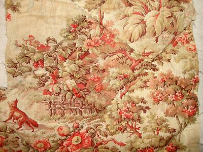 BEAUTIFUL BUT WORN FRAGMENT FRENCH 19th CENTURY QUILT, FOX, ROSES