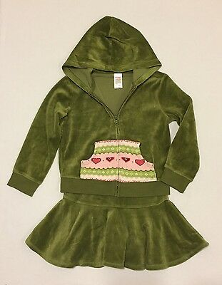 Gymboree Gingerbread Girl Green Velour Hoodie Skirt 2 PC Outfit Set Sz 5 6
