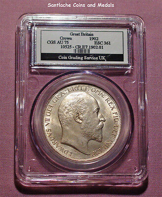 1902 KING EDWARD VII SILVER CROWN - Graded about UNC By CGS