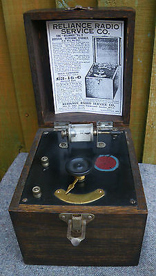 C.1920s WOODEN CASED THE 'RELIANCE' No 2 CRYSTAL RADIO/RECEIVER~BBC APPROVED