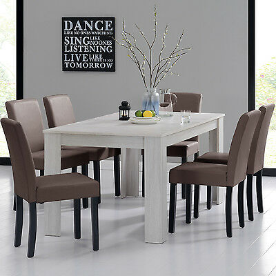 [en.casa] DINING TABLE 160x90 OAK WHITE + 6 CHAIRS BROWN DINING ROOM TABLE NEW