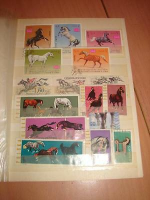 (J29) Stock Book Horses On Stamps World Wide Selection More Listed