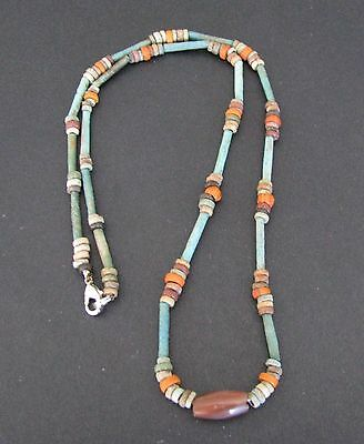 NILE  Ancient Egyptian Coral and Mummy Bead Necklace ca 1000 BC