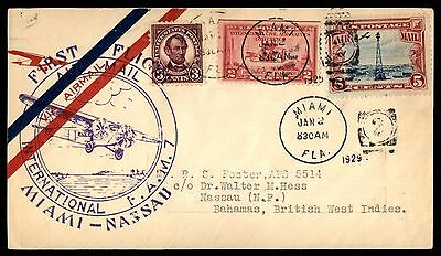 Miami Fl To Bahamas 1929 First Flight Cover With C11