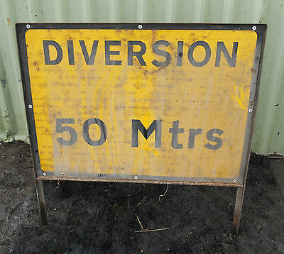 METAL Free STANDING Traffic A-BOARD ROADSIGN Road Sign - DIVERSION 50 MTRS
