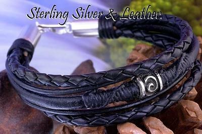 5B-836 Bravo & Co. Solid Sterling Silver & Leather New Wristband Men Bracelet.