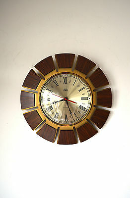 70S Stylish Funky Mid Century Vintage Retro Smiths Timecal Sunburst Wall Clock