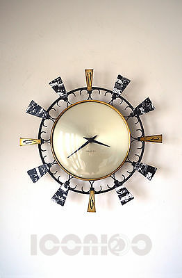 50S Unusual Vintage Retro Mid Century Modernist Seth Thomas Sunburst Wall Clock