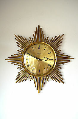 50S Stylish Vintage Mid Century Original Junghans Sunburst Brass Wall Clock