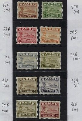 Nauru 1924 - 1928 Century Freighter MH Values / Papers to 1/- CV £68