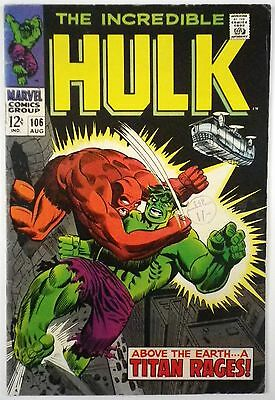 Incredible Hulk 106-1968-Marvel-Great Condition!!!