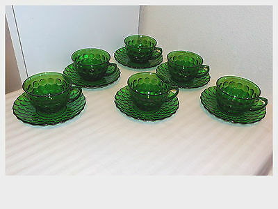 6 Sets Vintage Forest Green Anchor Hocking Bubble Glass Cups & Saucers