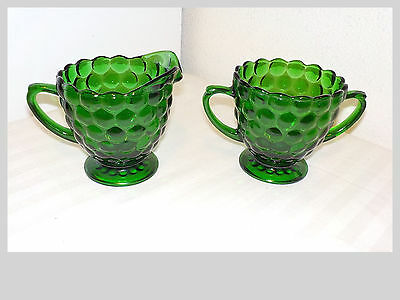 Vintage Forest Green Anchor Hocking Bubble Glass Cream Pitcher & Sugar Bowl