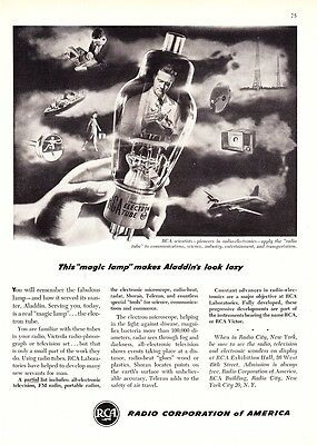 "1948 RCA Electron Radio Tube photo ""The Magic Lamp"" vintage promo print ad"
