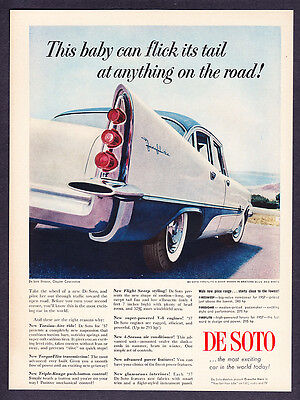 """1957 DeSoto Fireflite 4-door Sedan photo """"This Baby can Flick its Tail"""" promo ad"""