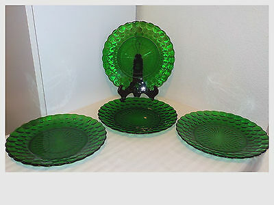 "4 Vintage Forest Green Anchor Hocking Bubble Glass 9 3/8"" Dinner Plates"