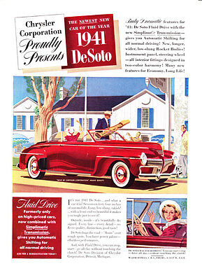 """1941 Chrysler DeSoto Convertible art """"With Fluid Drive Transmission"""" print ad"""
