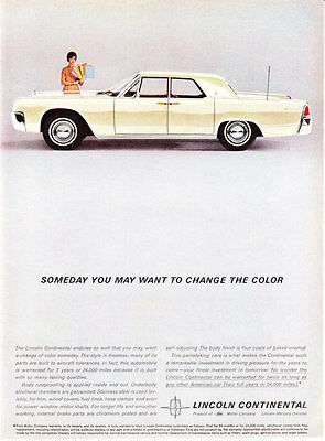 "1962 Lincoln Continental Sedan photo ""The Styling is Timeless"" promo print ad"