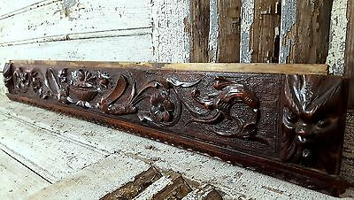 39.49 in GRIFFIN CHIMERA ANTIQUE FRENCH CARVED WOOD WALL DOOR BED PEDIMENT 19 th
