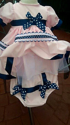 Dream Girls Spanish Romany Pink Navy Trim Frilly Netted Dress & Pants 0-2 Years