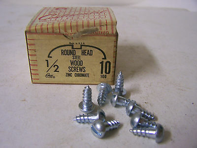 "#10 x 1/2"" Round Head Zinc Chromate Plated Wood Screws Slotted Made USA Qty.100"