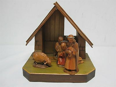 Antique Wood Intricately Carved Christmas Nativity Scene ~ Incredible Detail