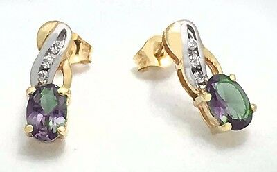ALEXANDRITE 1.08 carats & DIAMONDS 14k GOLD EARRINGS *No inclusions or flaws*