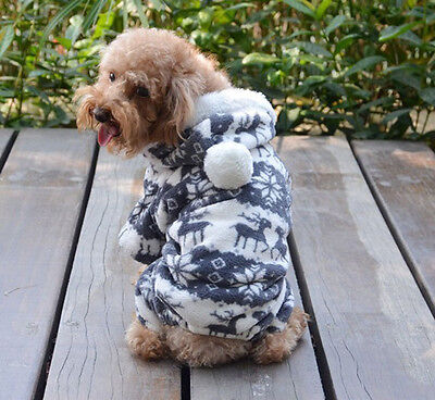 Fashion Pet Dog Cat Warm Clothes Puppy Jumpsuit Hoodie Coat Doggy pparel Gray