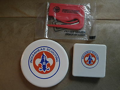 Scout Bsa Indianhead Council 2 Diff Ceramic Refrigerator Magnets Letter Opener !