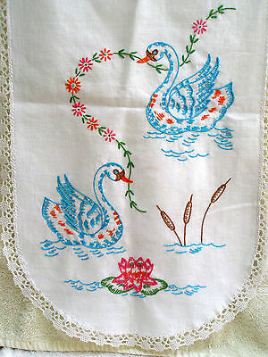 Vintage Table Runner White Swans Water Lilies Reeds