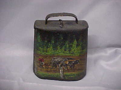 antique Metal cow bell with hand painted with Steers and Man Plowing field  e