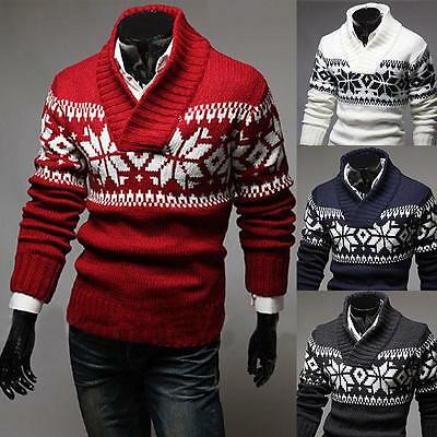 New Men's Casual Christmas Snowflake Pattern Long Sleeve knit Pullovers Sweaters