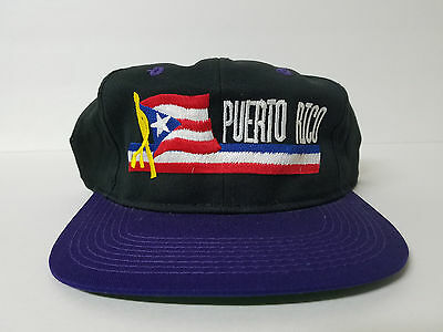 Puerto Rico Black Purple Adjustable Snapback Hat