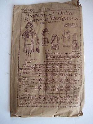 c.1900 BUTTERICK PATTERN No.2835 GIRL'S SAILOR DRESS - AGE 12