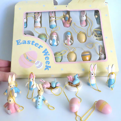 Easter Bunny Rabbit Eggs Painted Wood Ornaments Vintage