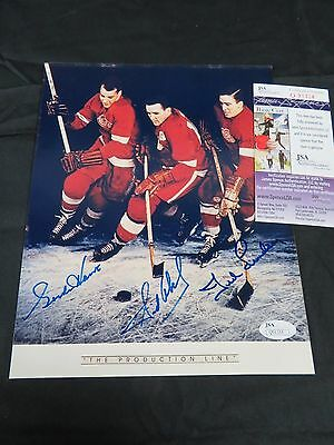 Gordie Howe Lindsay Abel Red Wings Production Line Signed 8x10 Photo JSA COA