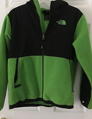 The North Face Denali Hooded Fleece Jacket Black Green Sz Large Youth