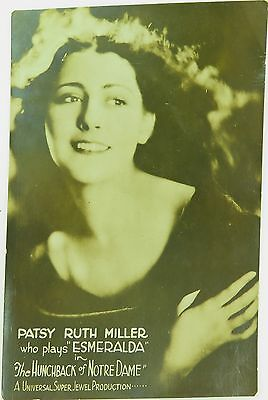 ".1923 Super Rare 'Hunchback Of Notre Dame"" Patsy Ruth Miller Real Photo Postcard"