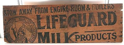 .rare Early 1900'S Australian Lifeguard Milk Products Wooden Sign.