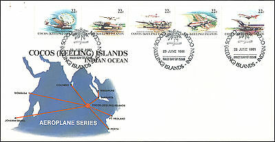 1981 FDC, map cachet, plane stamps