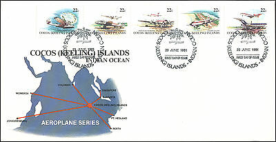 1981 FDC, airplane stamps/map cachet